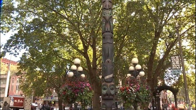 Groups are working to replace the totem poles in Seattle with authentic indigenous art. (Photo: KIRO7.com)