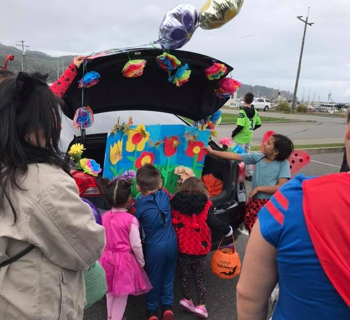 Garden themed trunk at Makah Lutheran's Trunk or Treat in Neah Bay, Washington.