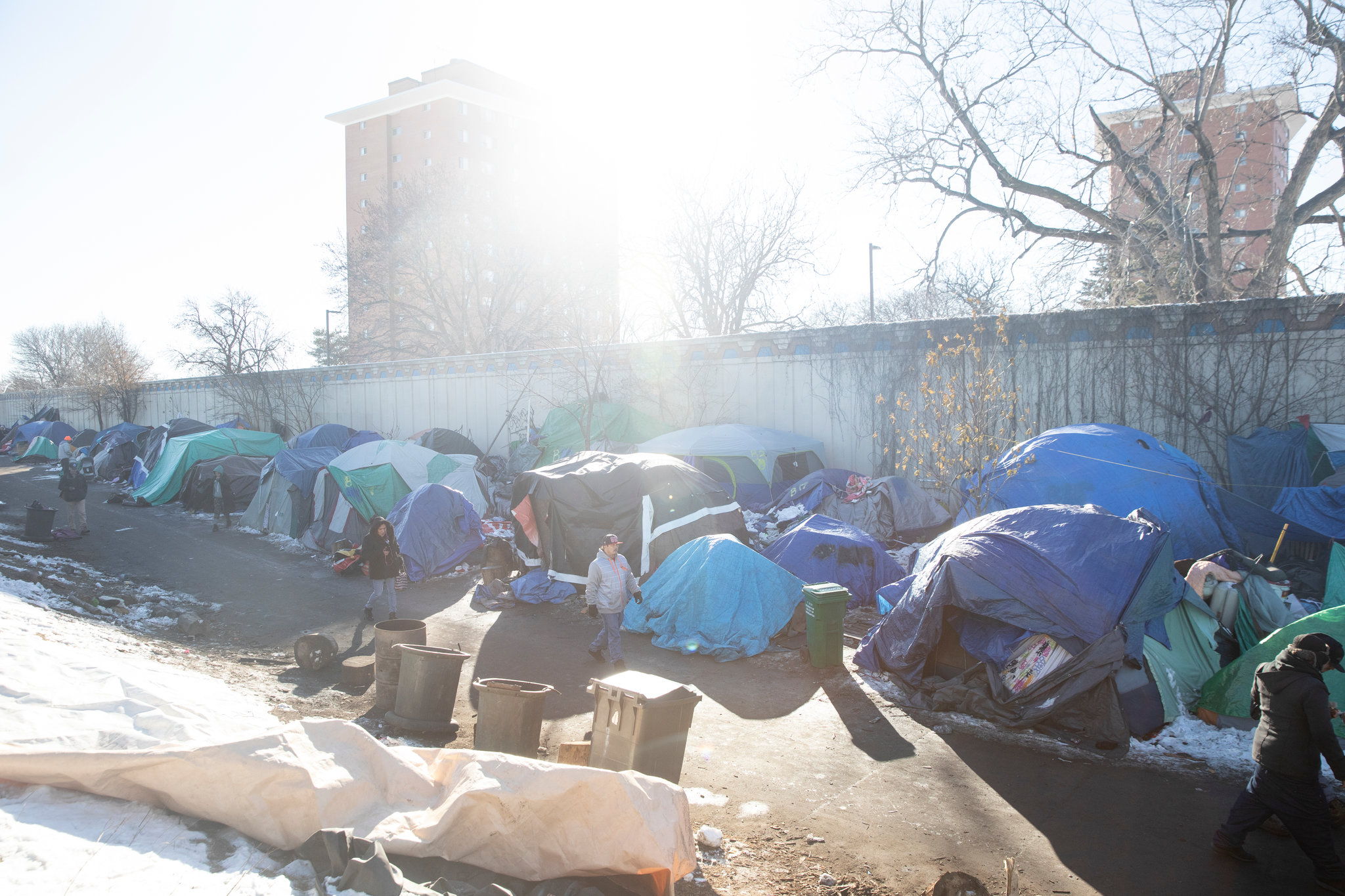 The homeless encampment in Minneapolis.  Credit: Tim Gruber for The New York Times