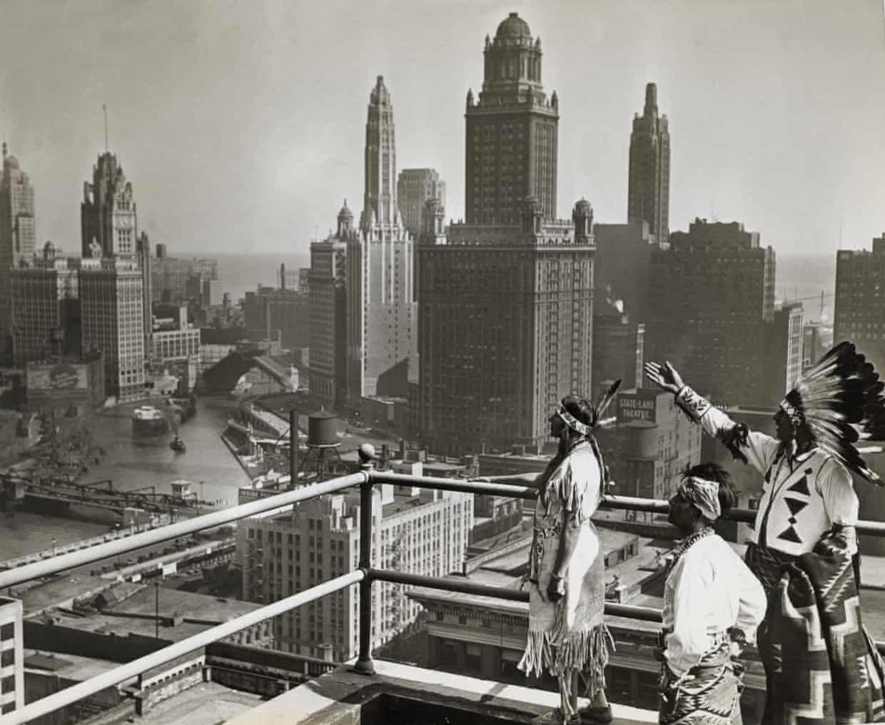 lutheran indian ministries native news - Members of the Chippewa, Pueblo and Winnebago tribes look out over Chicago's skyline from the roof of the Hotel Sherman. Photograph: George Rinhart/Corbis via Getty Images