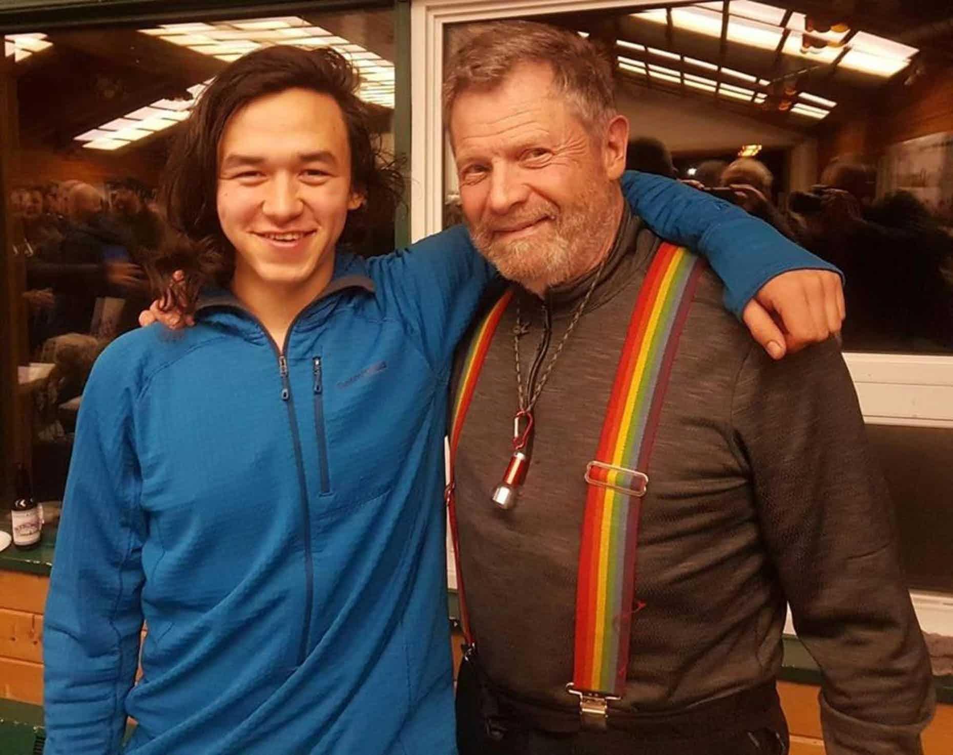 Martin Apayauq Reitan, 21, and Jim Lanier, 78, at a Yukon Quest pre-race mushers meeting in Whitehorse. (Courtesy of Ketil Reitan)