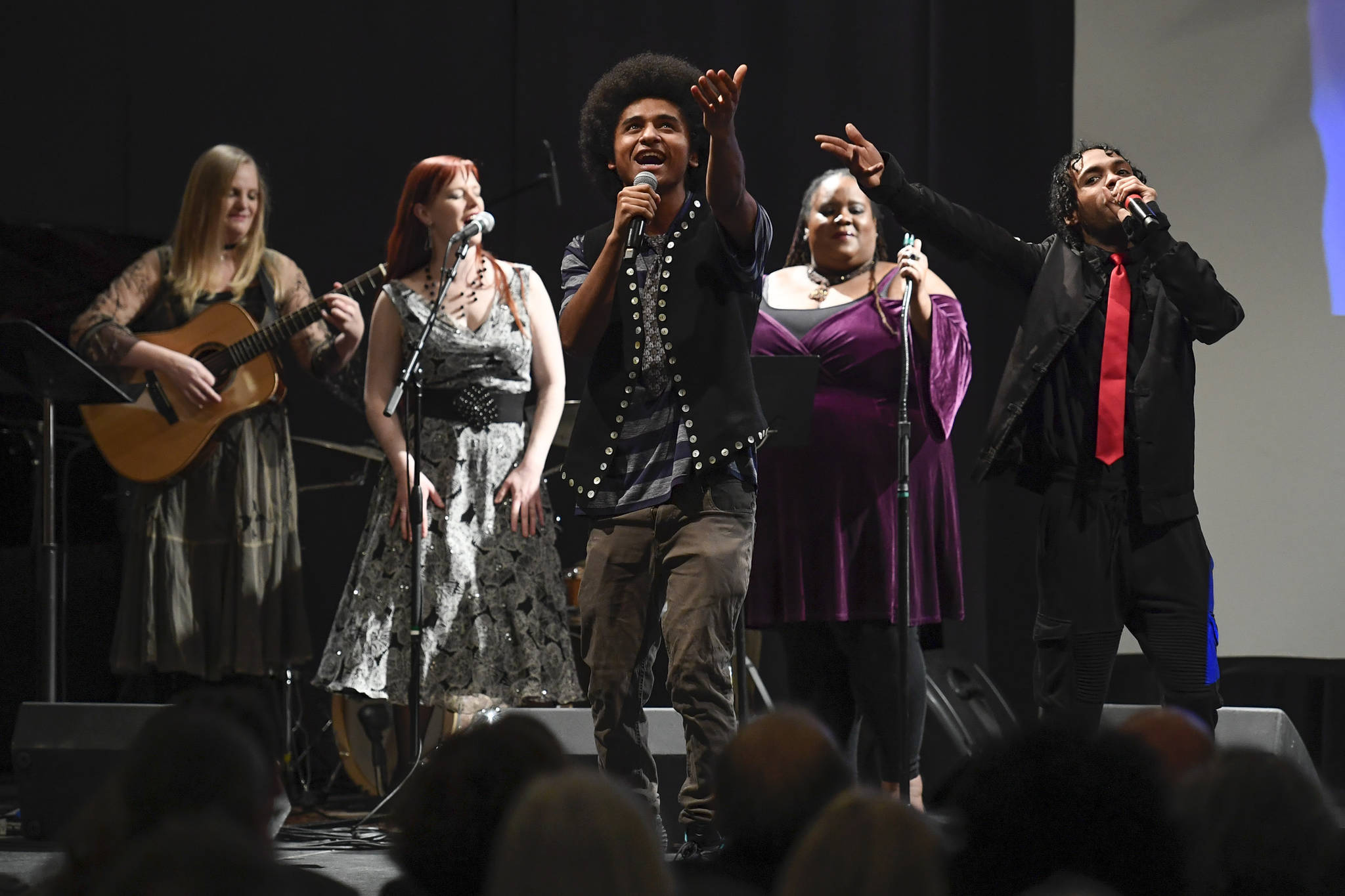 Laura Zahasky, left, Marian Call, Arias Hoyle, Jocelyn Miles and Chris Talley perform at the 2019 Governor's Arts and Humanities Awards at the Juneau Arts & Culture Center on Thursday, Feb. 7, 2019. (Michael Penn | Juneau Empire)