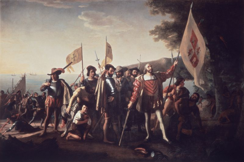 """lutheran indian ministries native news - """"Landing of Columbus"""" by John Vanderlyn (1775-1852). Christopher Columbus has been credited with the European discovery of the Bahamian islands in 1942 - which led to the European discovery of North America. (Getty Images/SuperStock RM)"""