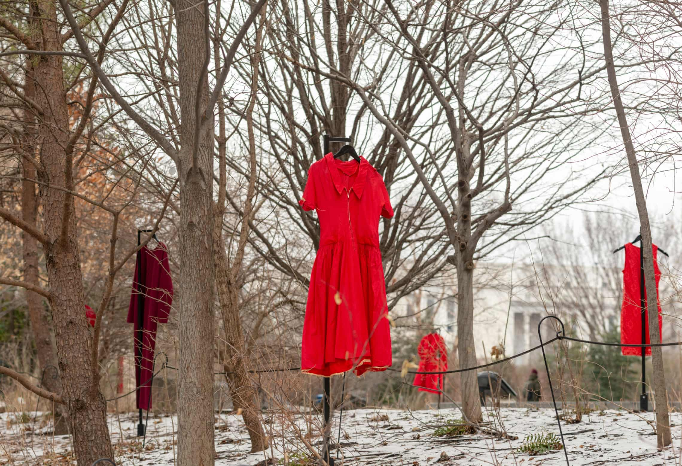 The REDress Project, an outdoor art installation by Métis artist Jaime Black at Smithsonian's National Museum of the American Indian in Washington DC. Photograph: Katherine Fogden/National Museum of the American Indian