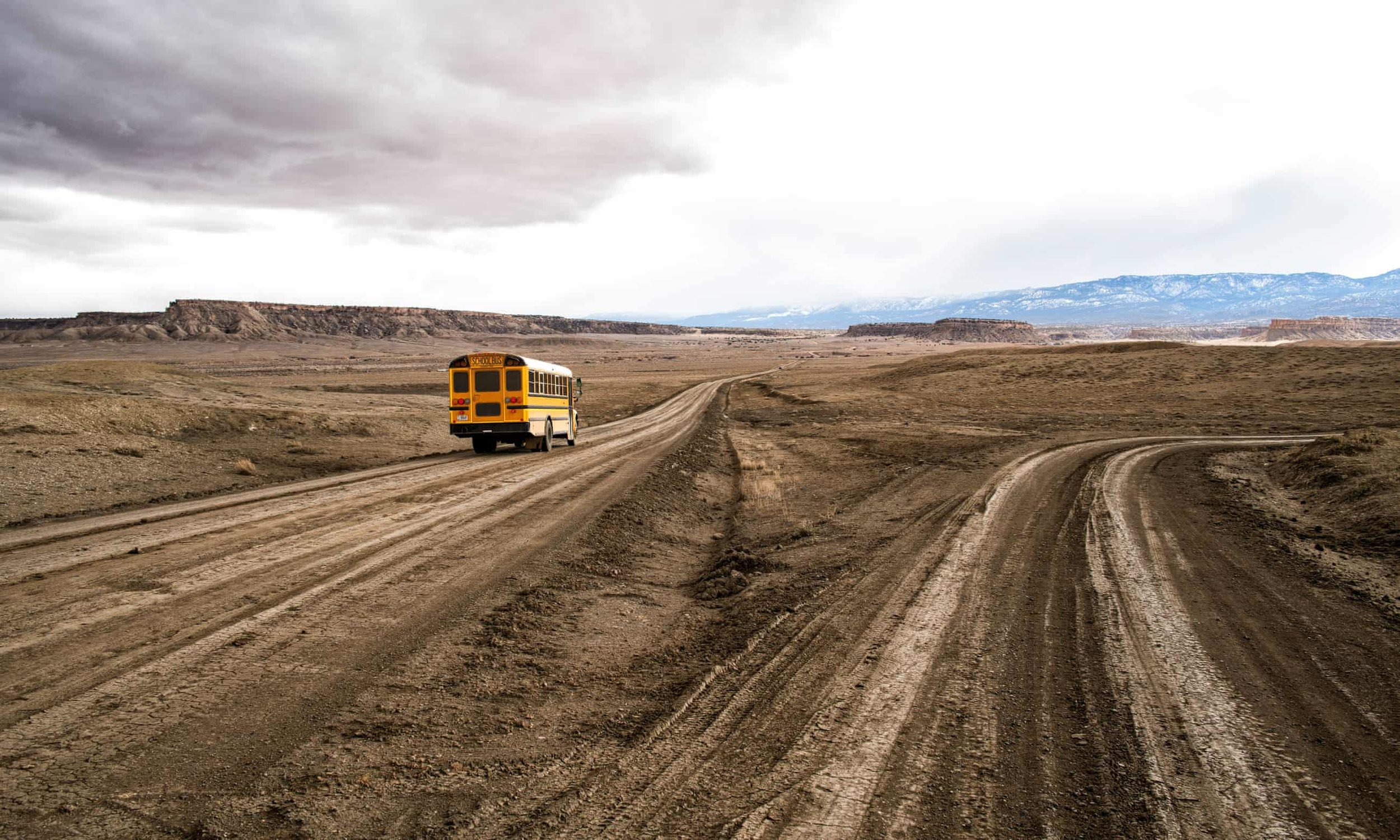 lutheran indian ministries native news -  A school bus on the unpaved Indian service route 5010 near Sanostee. The seven-mile corridor connects as many as 2,500 residents to the outside world – or denies them access altogether. Photograph: Don J Usner/Searchlight New Mexico