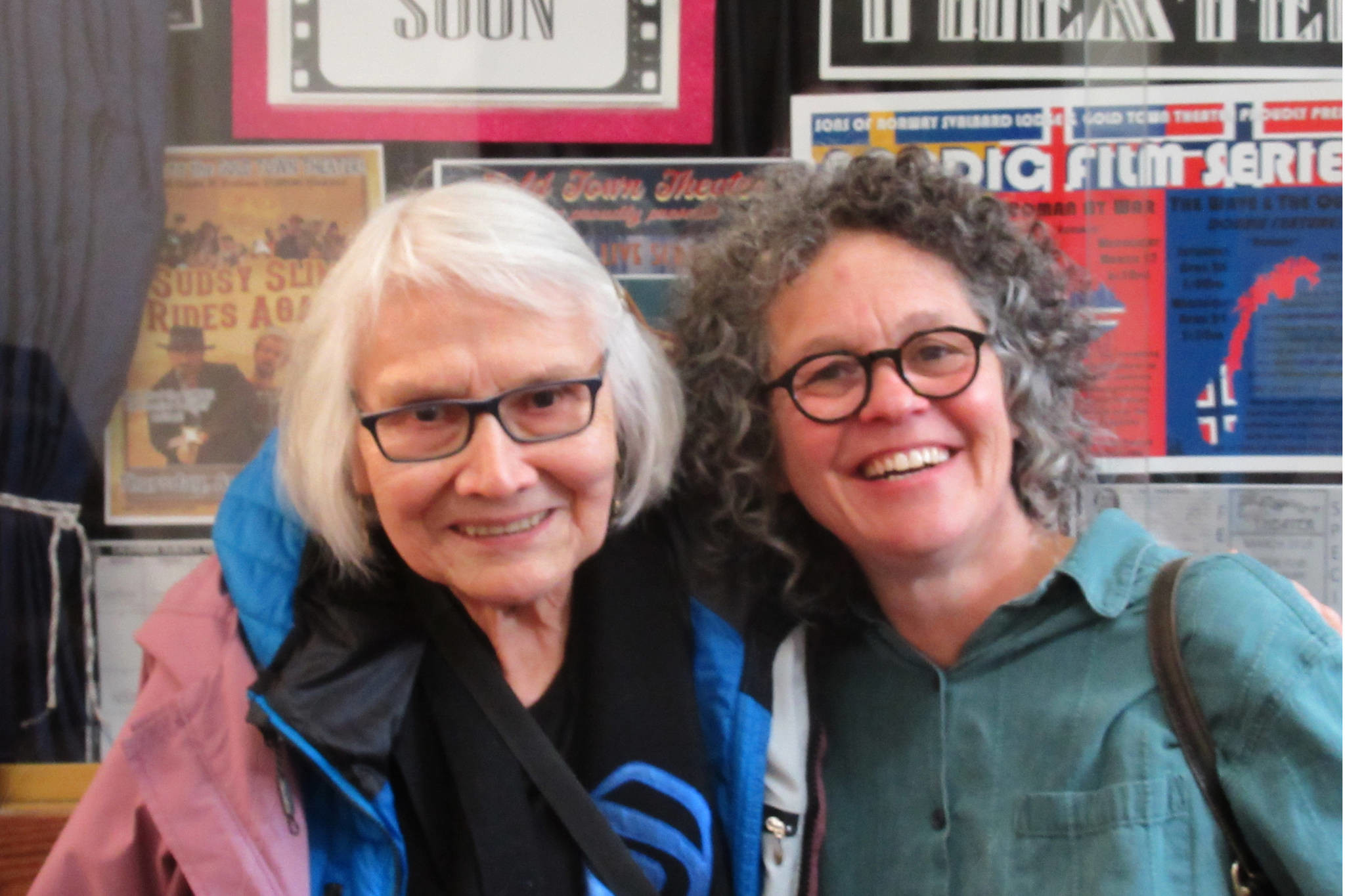 "lutheran indian ministries native news - Weaver Delores Churchill and filmmaker Ellen Frankenstein smile outside the Gold Town Theater after a screening of ""Tracing Roots,"" Sunday, March 31, 2019. (Ben Hohenstatt 