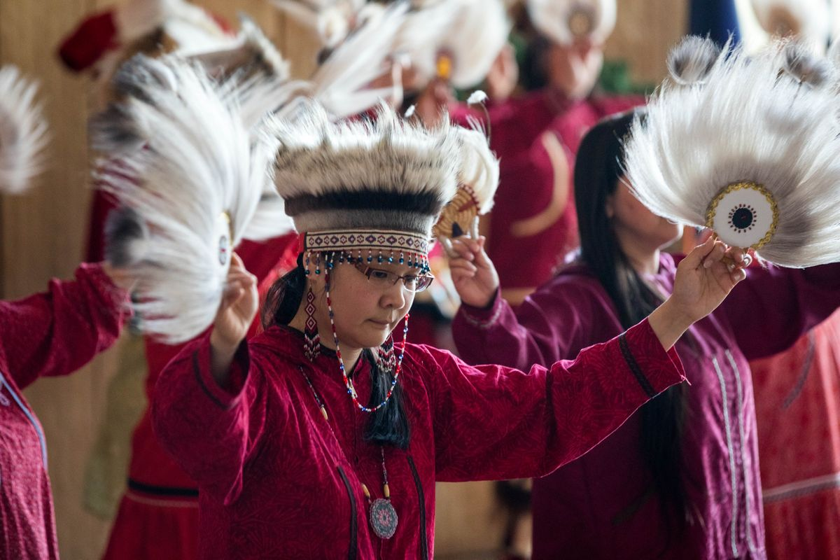 lutheran indian ministries native news - Sheila Lowe dances with the Acilquq Singers and Dancers on Saturday, May 4, 2019 at the Alaska Native Heritage Center. The dance was part of a Missing and Murdered Indigenous Women and Girls community gathering and Heartbeat of the Drums ceremony. (Loren Holmes / ADN)