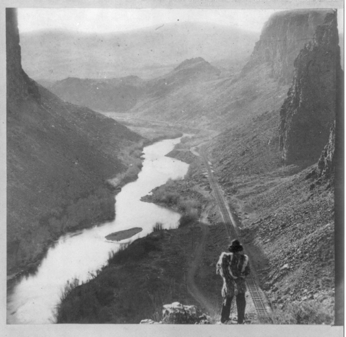 lutheran indian ministries native news - A Native American man looking at the Central Pacific Railroad, about 1869. Courtesy of Library of Congress.