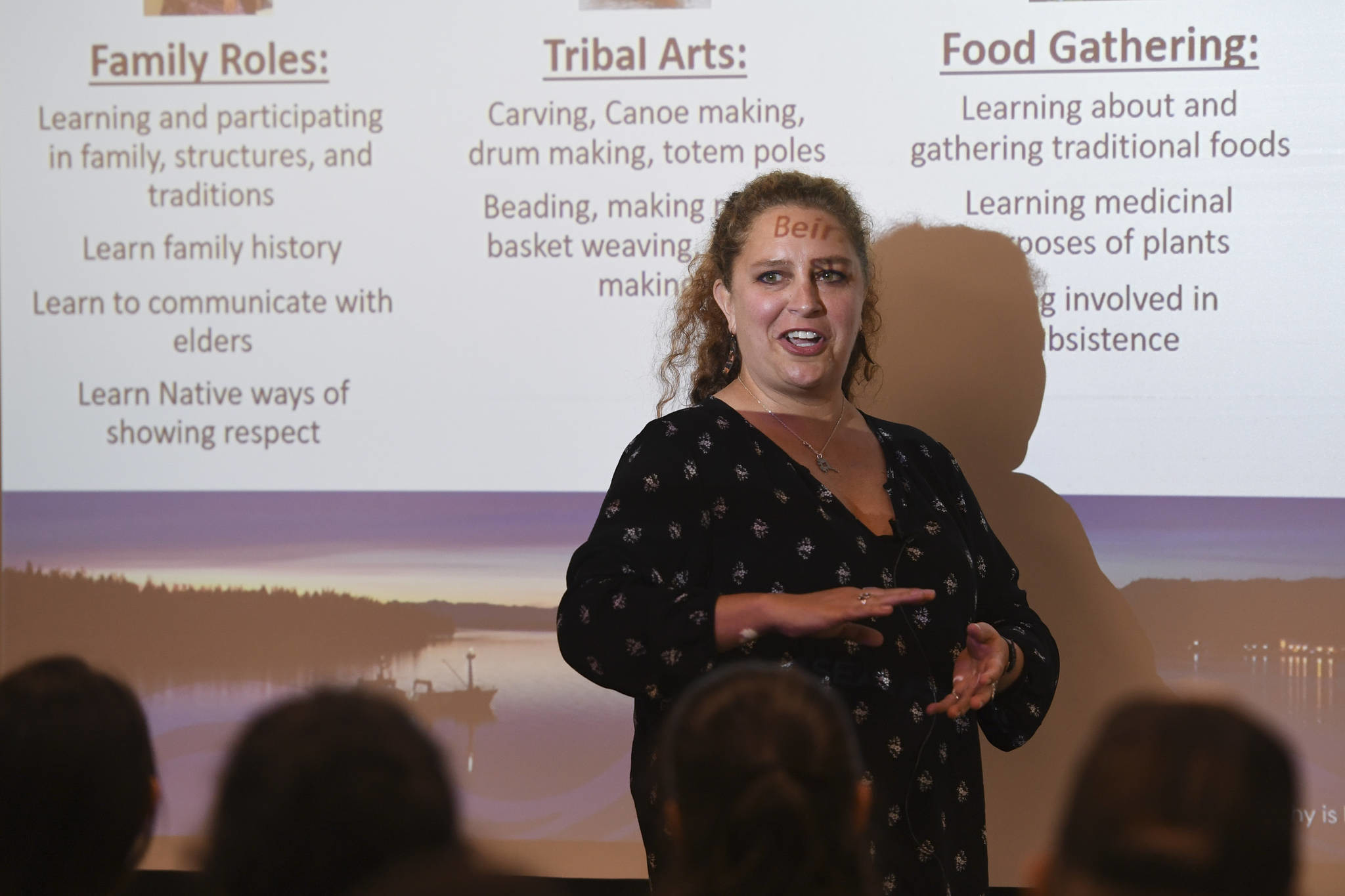 Brenda Thayer, a mental health counselor for SEARHC, speaks of trauma in Native communities during a speech at the Walter Soboleff Center on Tuesday, July 23, 2019. (Michael Penn | Juneau Empire)