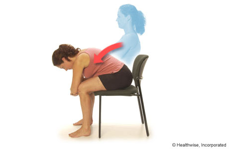 """Elbow on knee stretch"", can come lower if you don't feel a stretch.  Hold for 1 min, no ""pain pain"", just a ""nice discomfort""  5-10/day"
