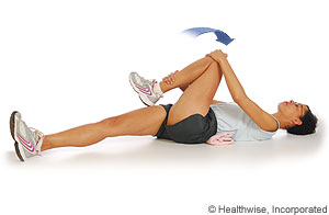 Knee to Opposite Shoulder Stretch  Hold for 1 min  Perform 20 Times Per day  No Pain with it