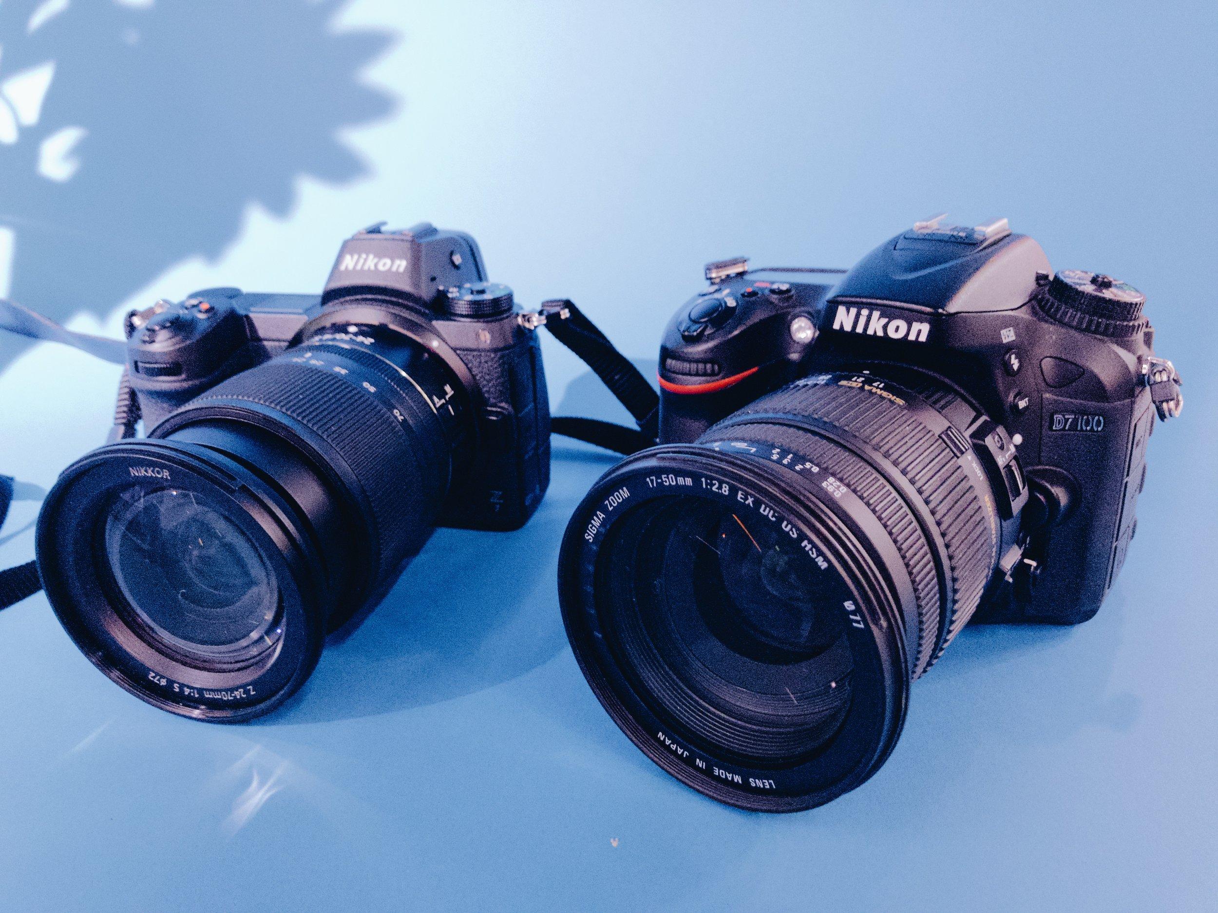 The Nikon Z7 (Left) next to the Nikon D7100 (Right)