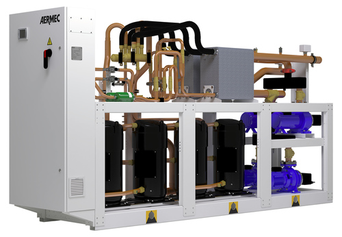 AERMEC's water cooled heat pump and heat recovery chiller, the NXW. Also available in simultaneous heating and cooling version, the NXP.