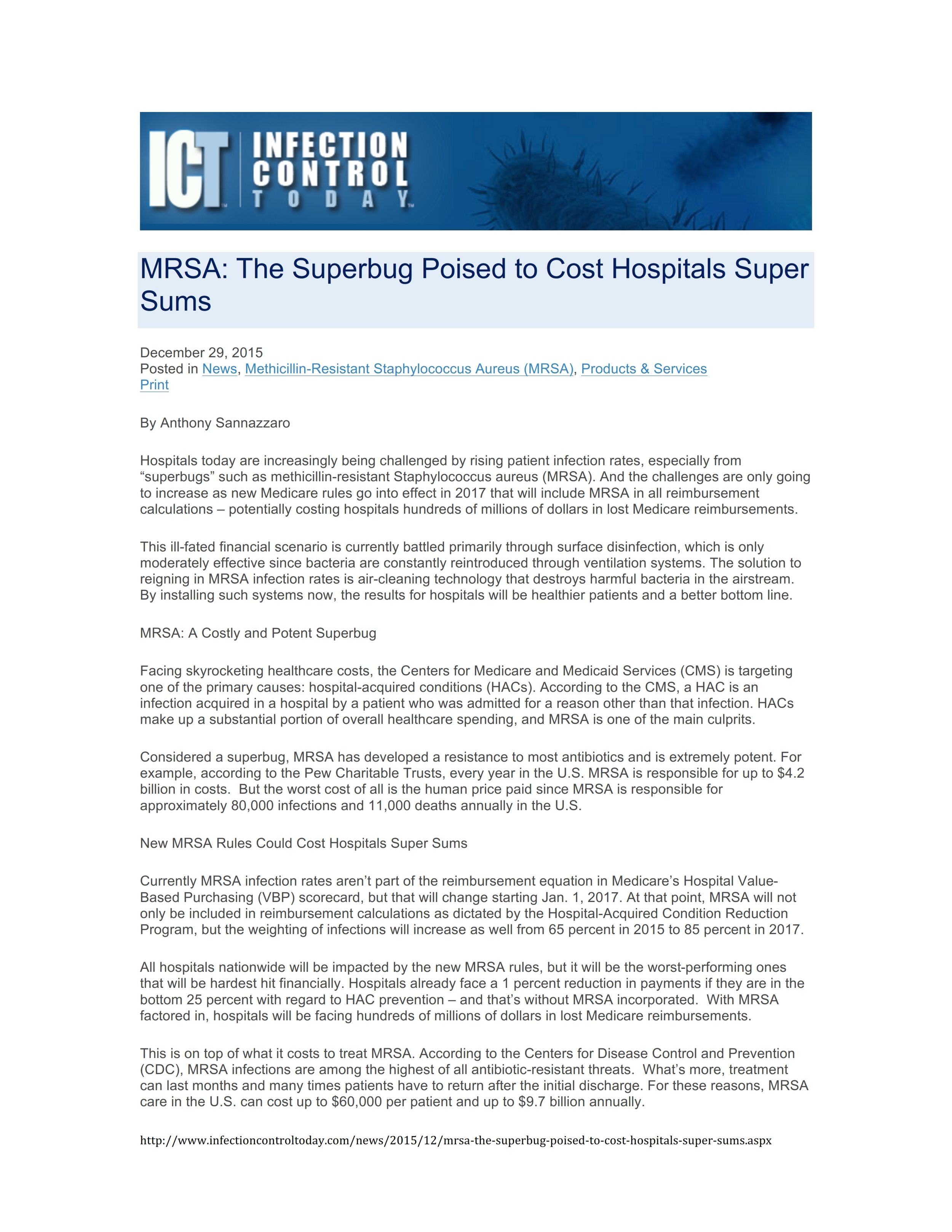Download our article from Infection Control Today