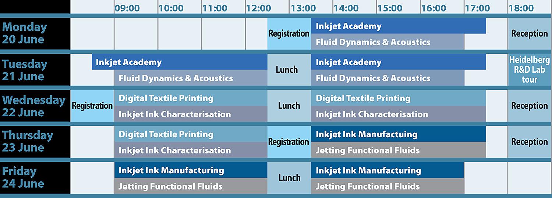 IMI Europe Inkjet Summer School 2016 programme timetable