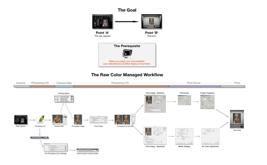 An example of a colour managed workflow, from Adobe