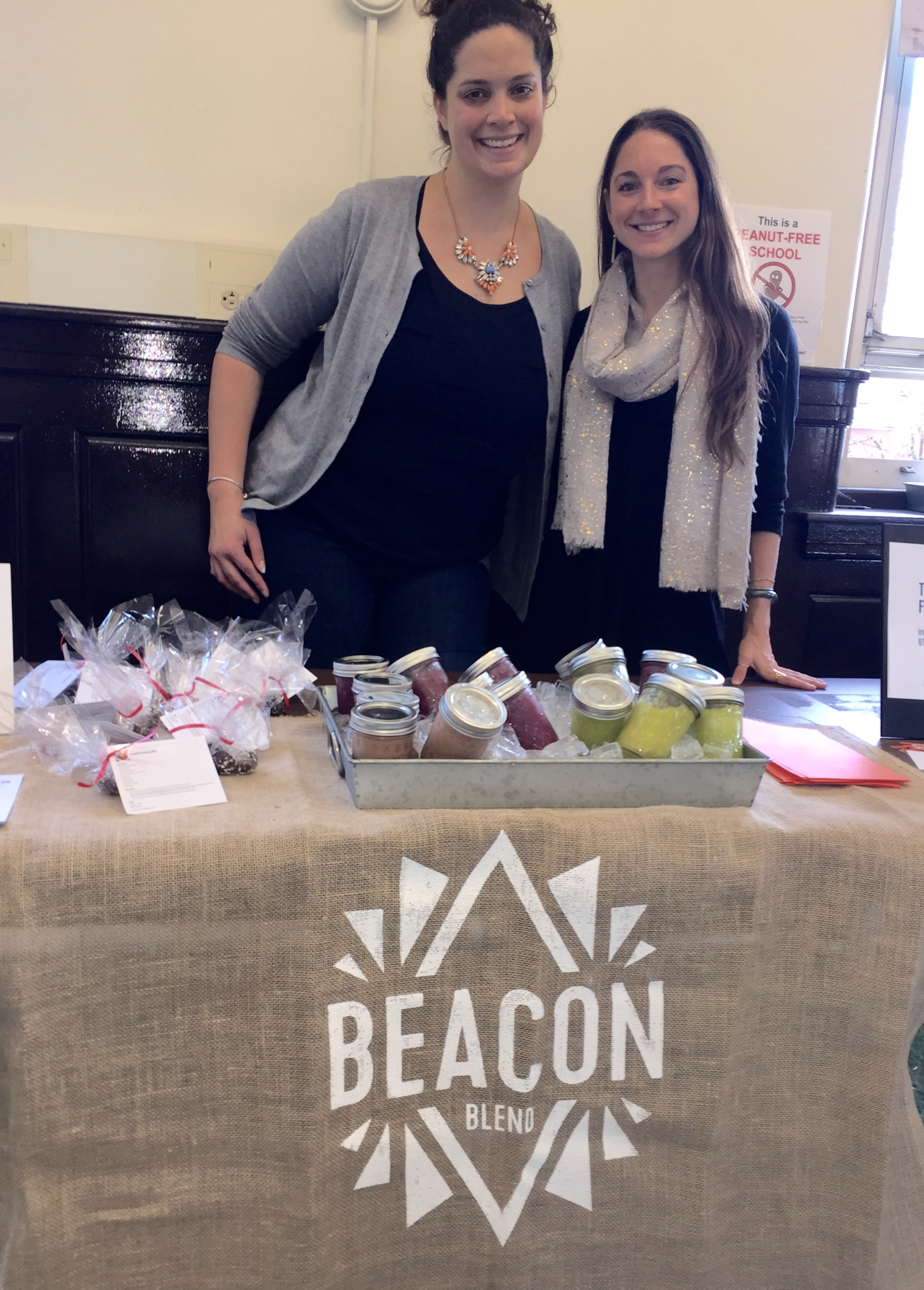 Mary and I with Beacon Blend's beautiful display in our teachers' lounge.