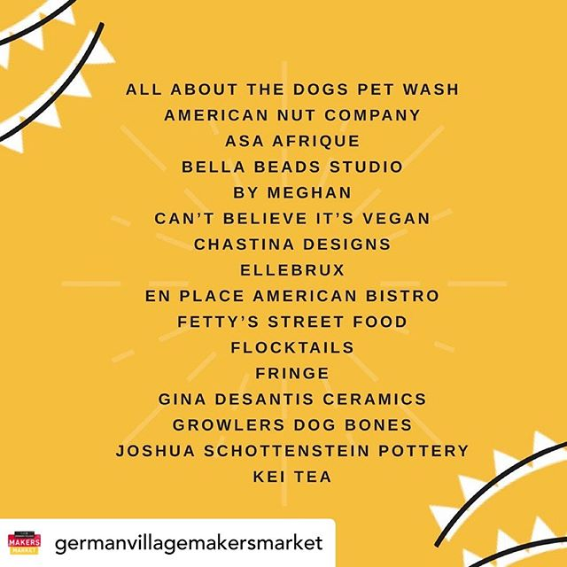 Posted @withrepost • @germanvillagemakersmarket The full June lineup is here! Shop local on Sunday, June 23.  Over 60 of the city's best makers will be at the corner of City Park and Thurman in historic German Village from 11am-4pm ✨good tunes, food trucks, pet friendly, kid friendly and free!