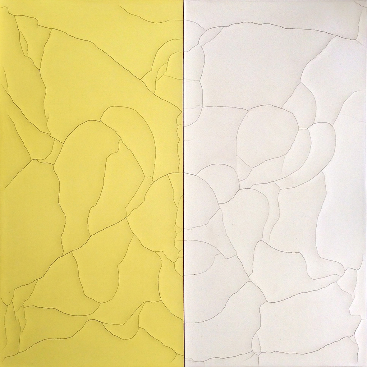 """Divide Ground: Orchid / Acid Yellow,"" Natural pigments, wax and gesso on canvas  61 x 61 x 4 cm  (2013)"