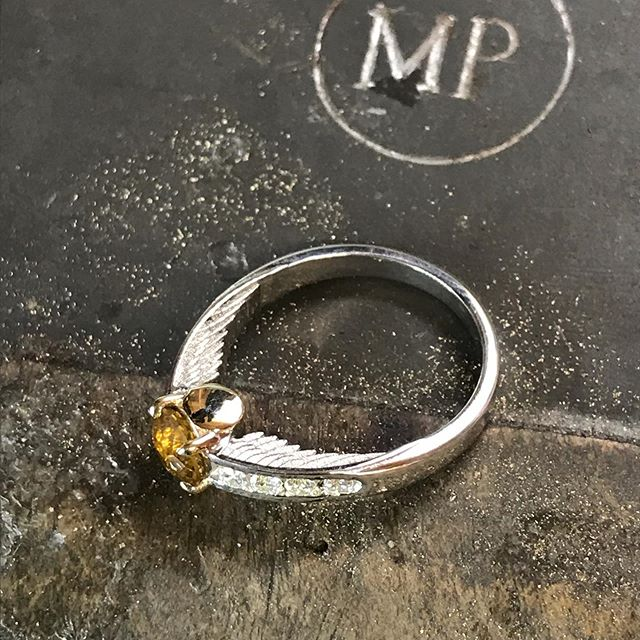One for the Harry Potter fans! A brilliant request for an engagement ring inspired by the Golden Snitch in the Harry Potter films! The golden part is brought to you buy a @johndyergems cut Yellow sapphire! Stunning!  #engagementring #harrypotter #goldensnitch #ring #jewellery #bespoke #yellow #sapphire #gold #whitegold #diamond #jeweller #jewellerydesigner