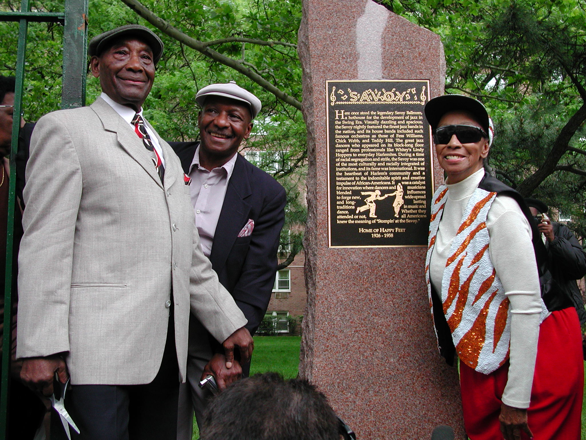 Frankie Manning, Chazz Young, and Norma Miller at the site of the Savoy Plaque, 2002
