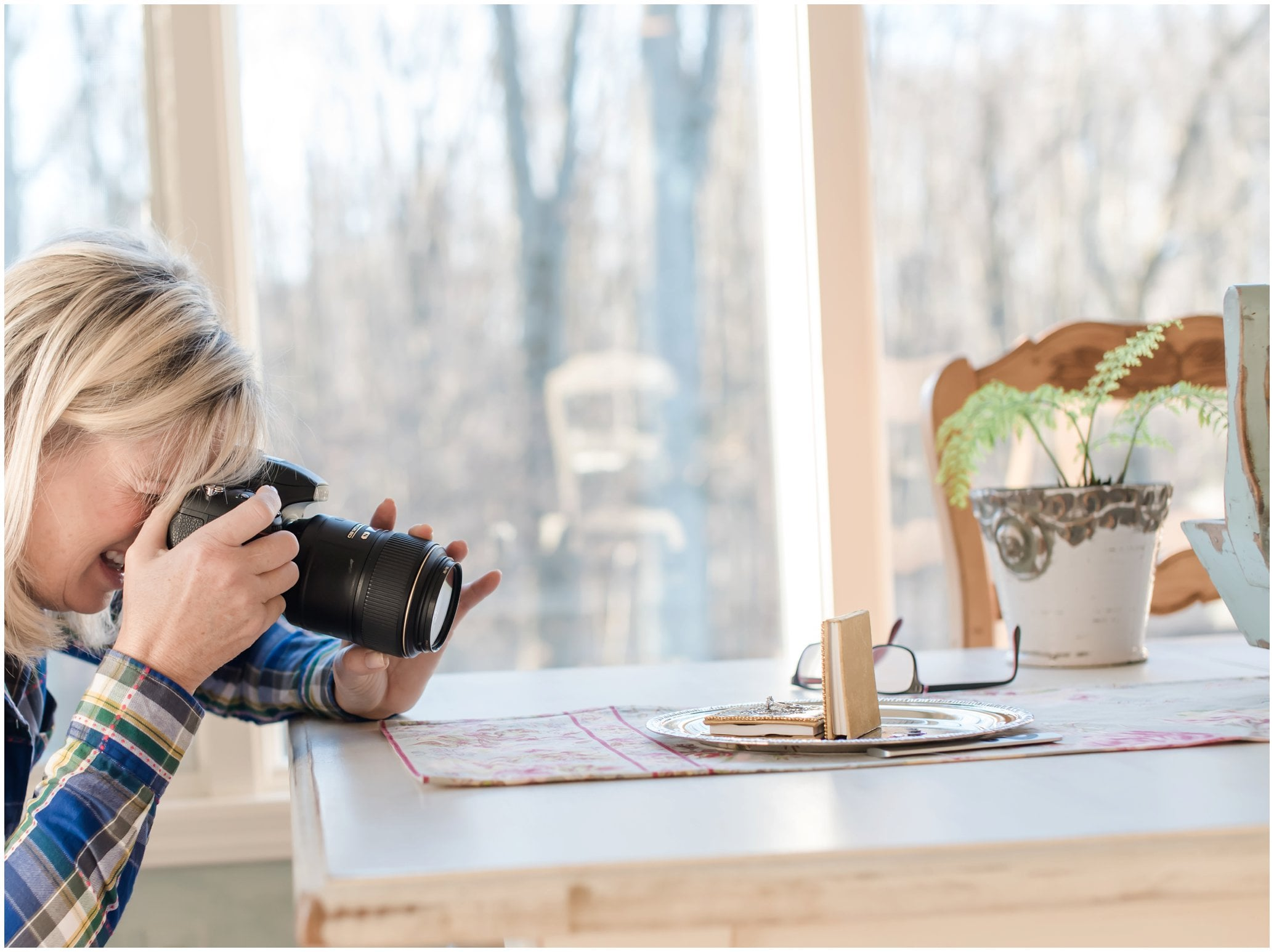 Here I am using some beautiful natural light and setting up the ring shot, using my Nikon 105mm 2.8 macro lens.