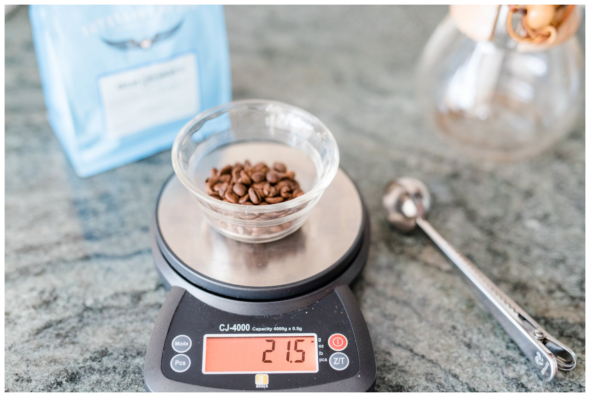 This is the scale that we use and we measure in grams. If you have any scale around the house that measures in grams it will be fine to use.