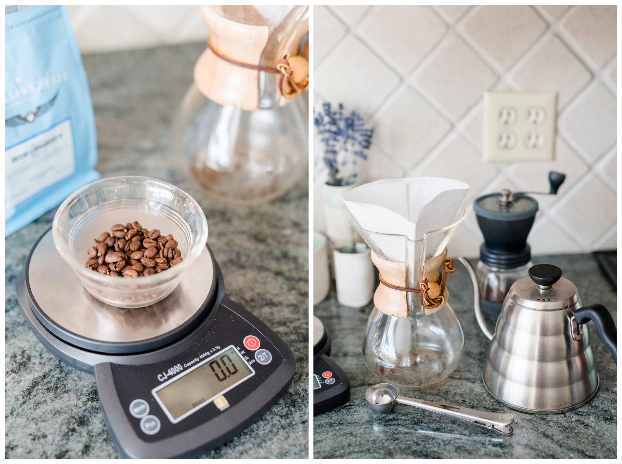 So here we will now grind the beans and then the coffee will be placed in the filter on top of the carafe.