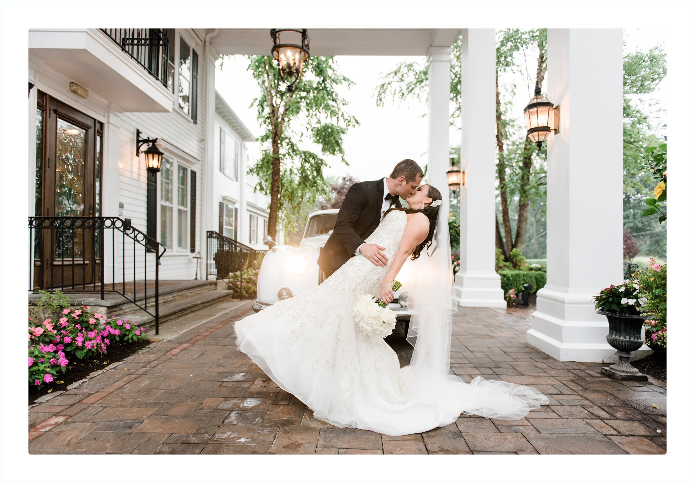 bride and groom romantic portraits at the Park Savoy in Florham Park new jersey