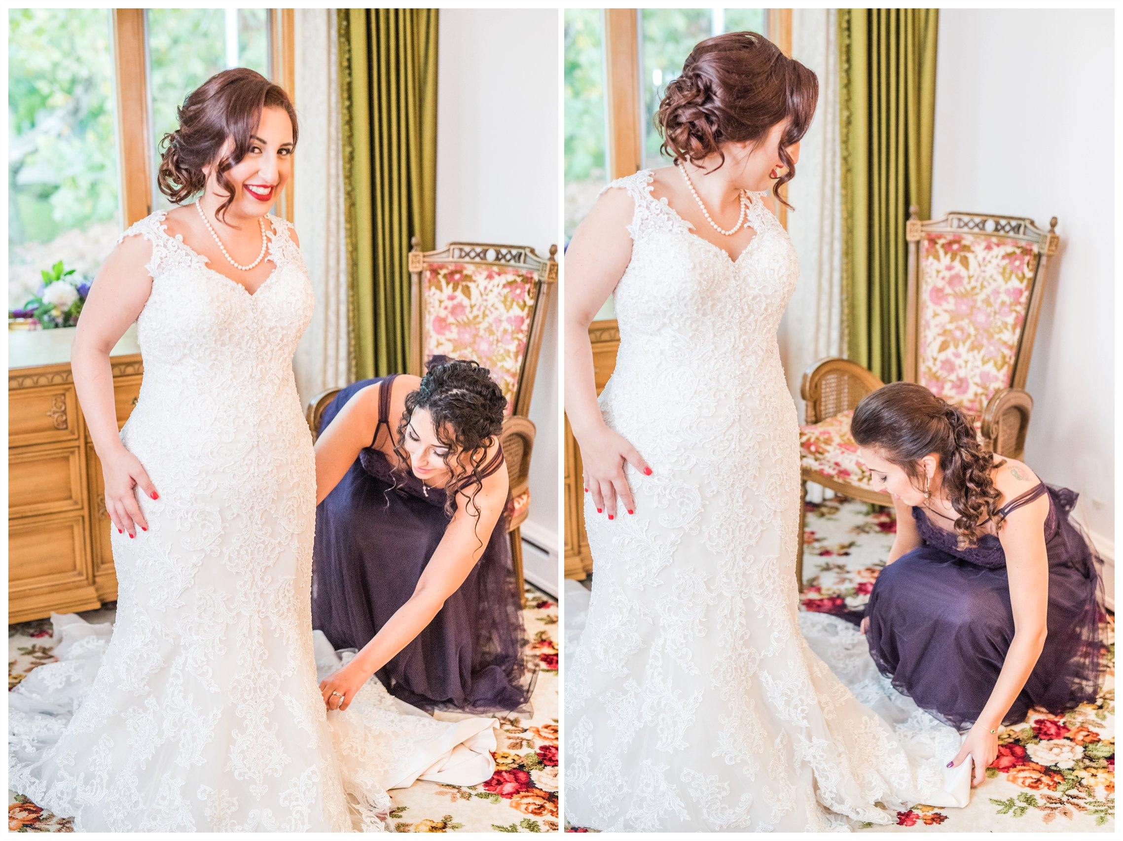 bride and sister enjoying getting ready for wedding day