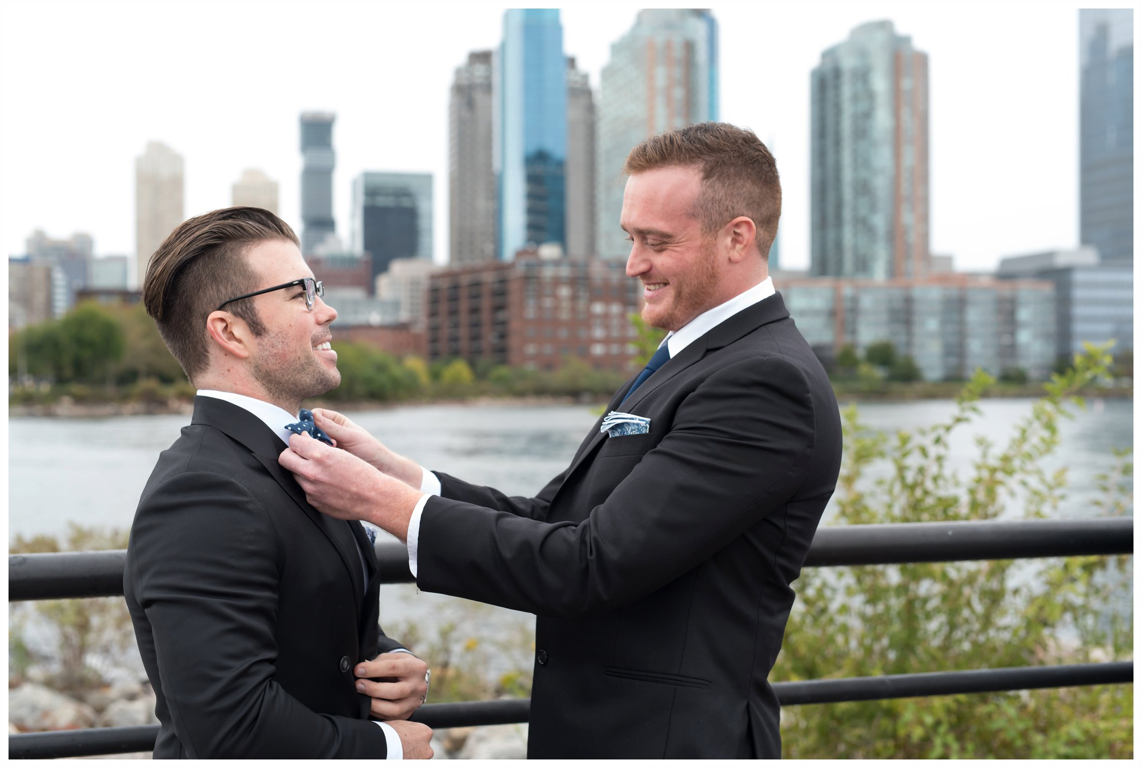 groom and best man for a wedding at the Liberty house restaurant in jersey city, new jersey
