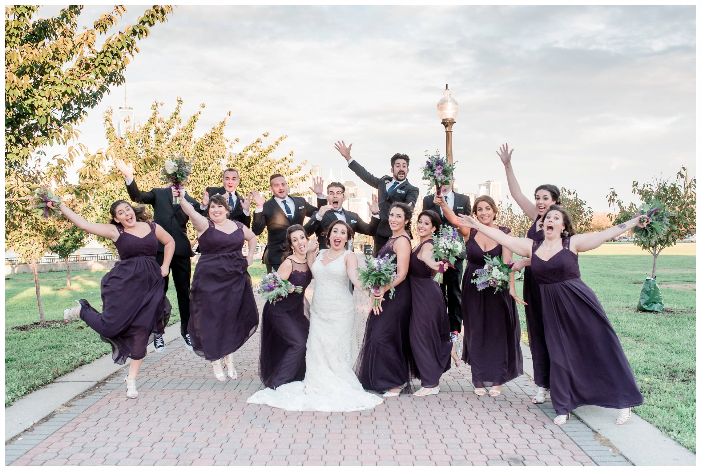 bridal party fun photos at the liberty house restaurant in jersey city new jersey