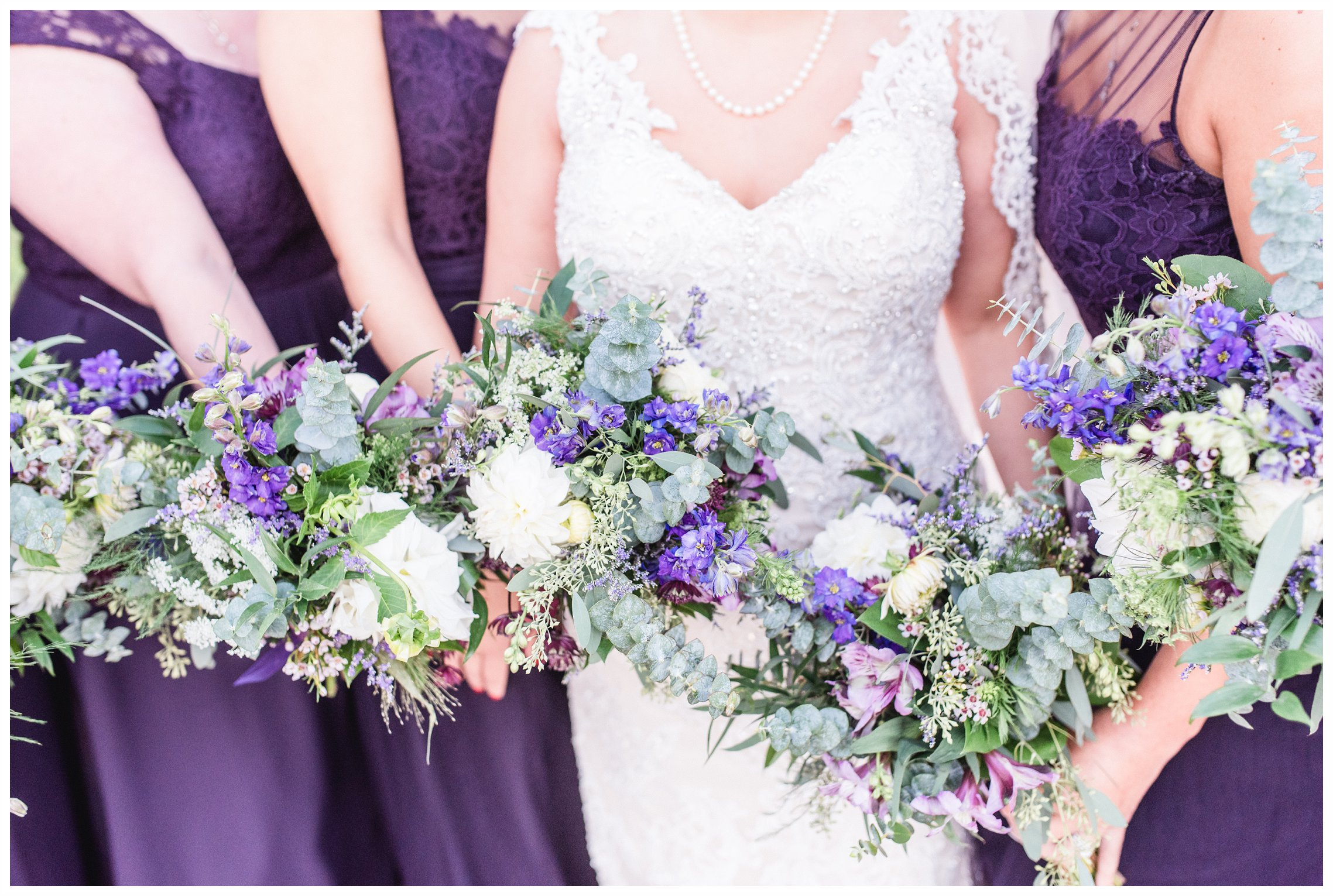 Bride and bridesmaids and bouquets at Liberty house wedding