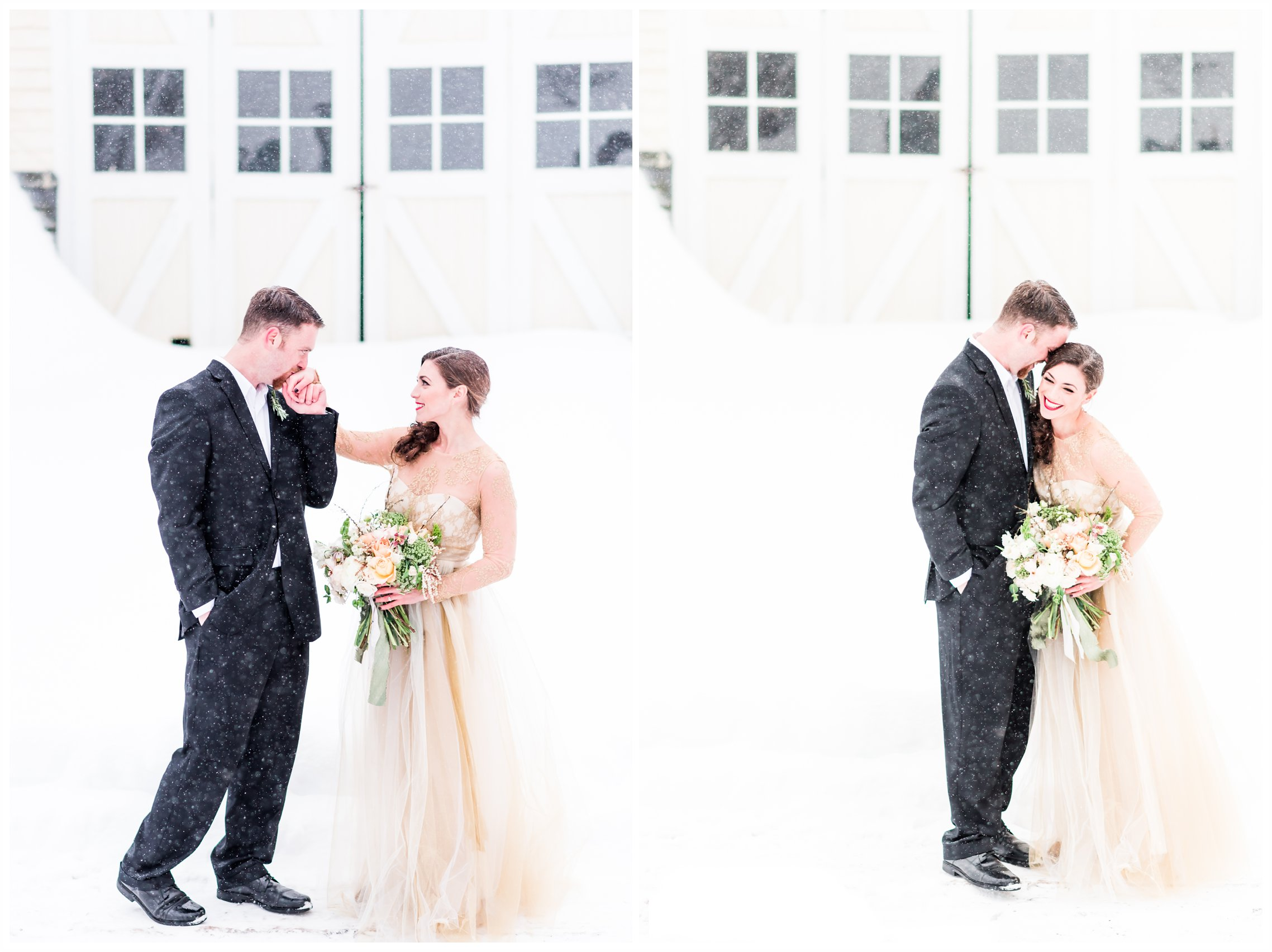 romantic bride and groom in snowy winter styled shoot