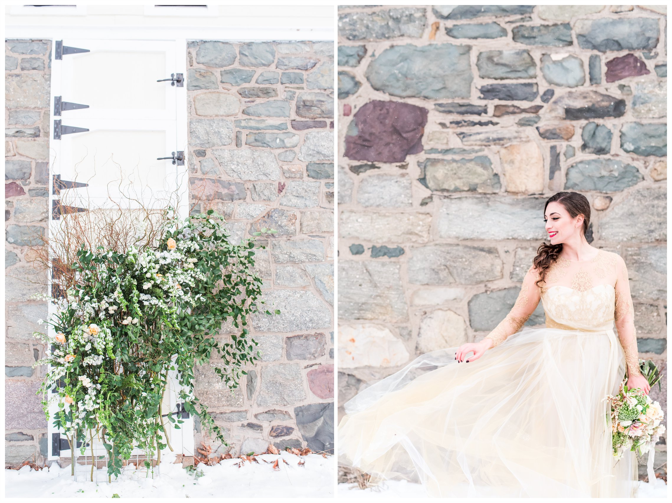 floral wall designs, bride and bridal bouquet