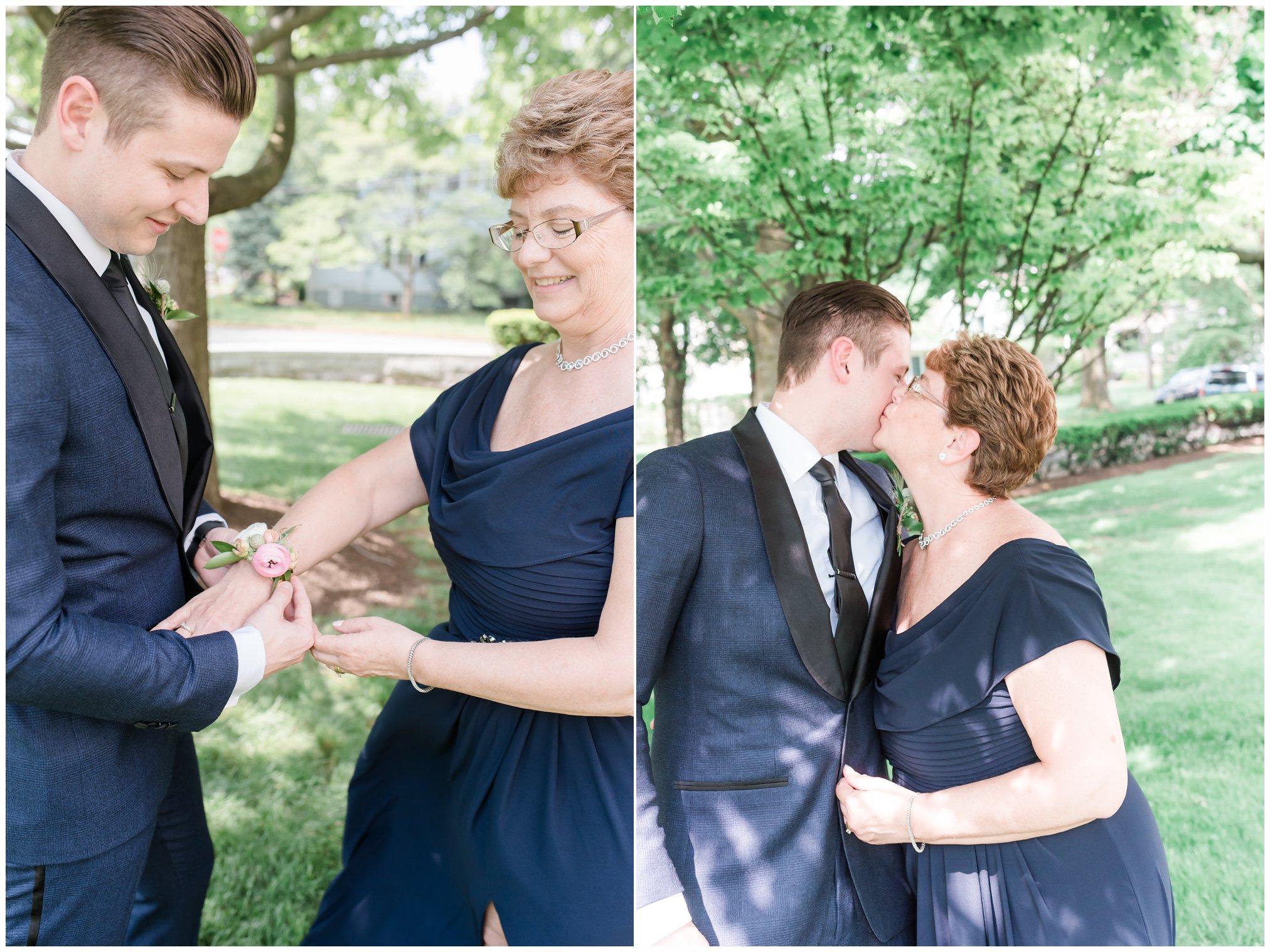 groom and mom on wedding day