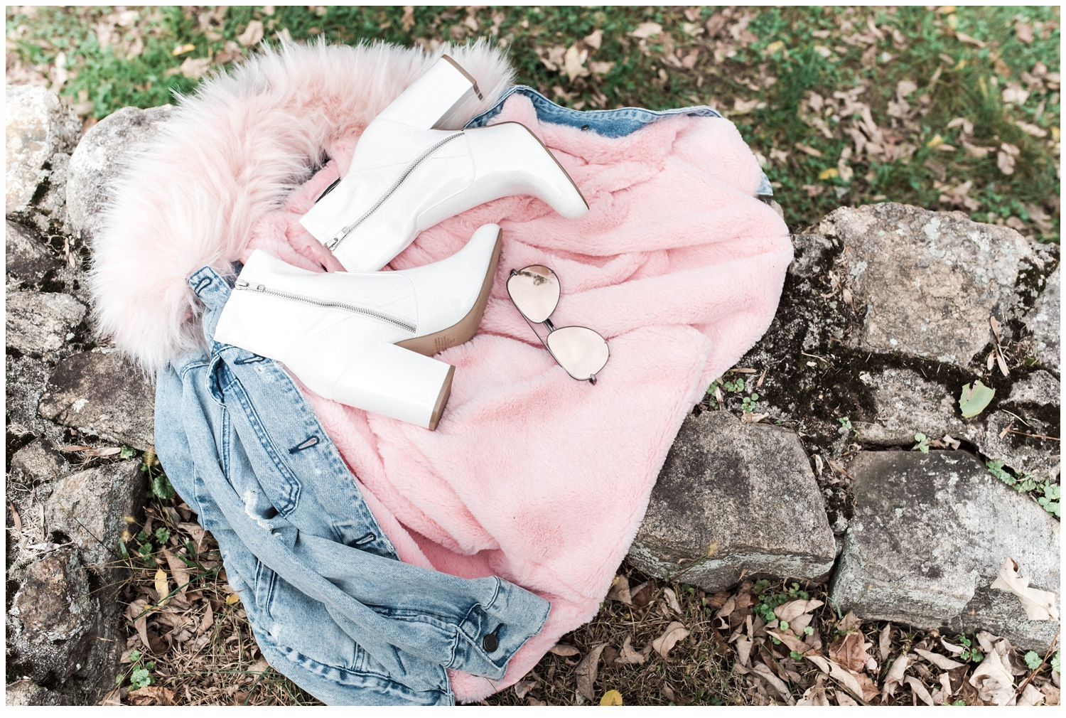 jean jacket with pink faux fur