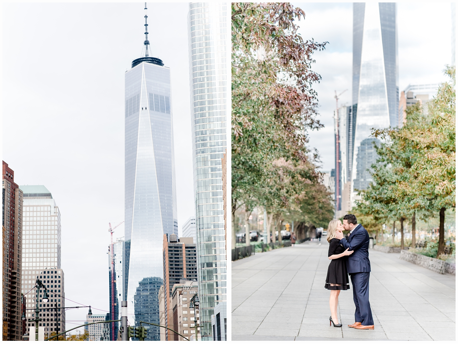 engaged couple kissing by freedom tower