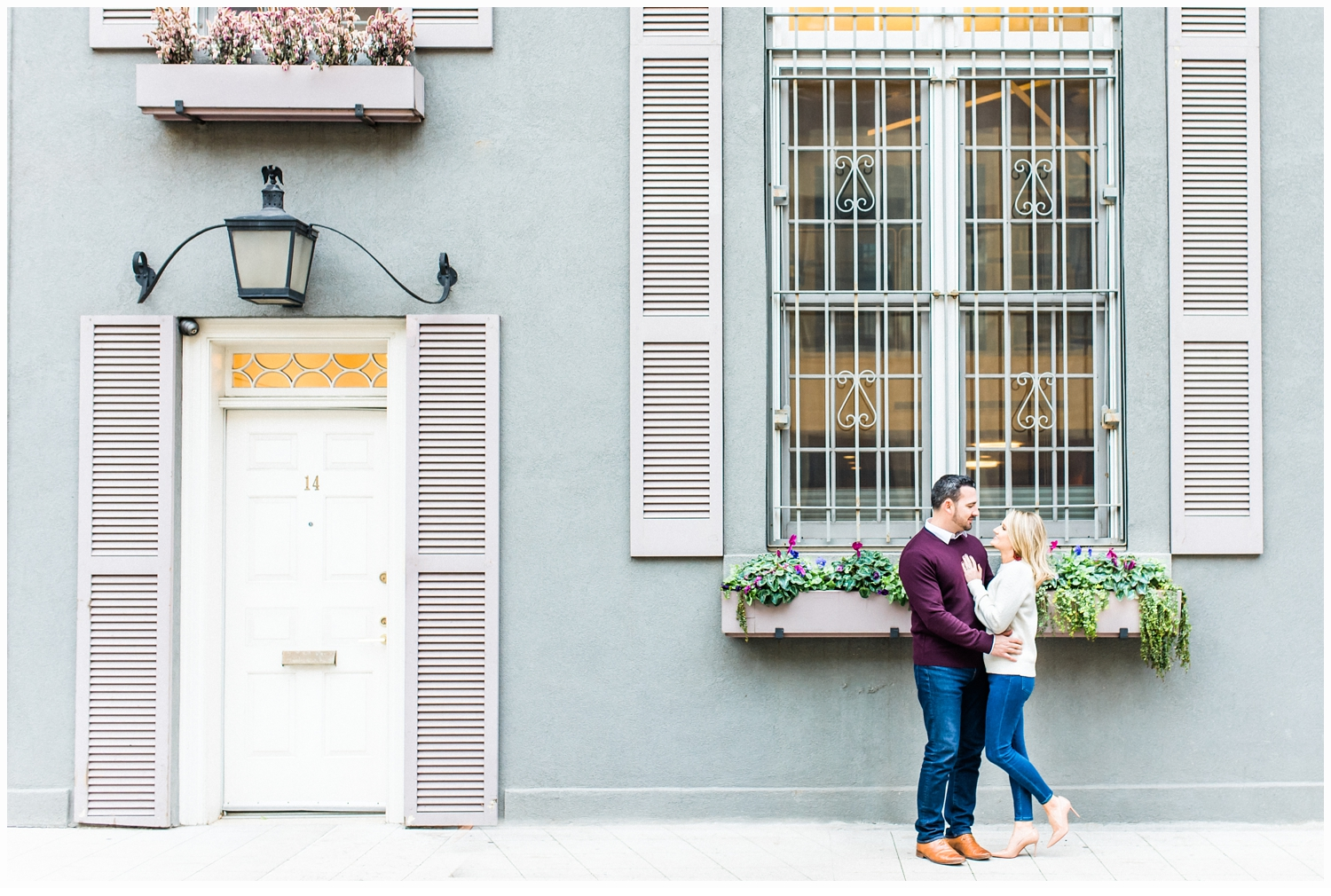 engaged couple in west village