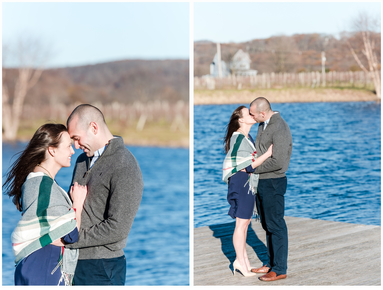 engaged couple on a lake