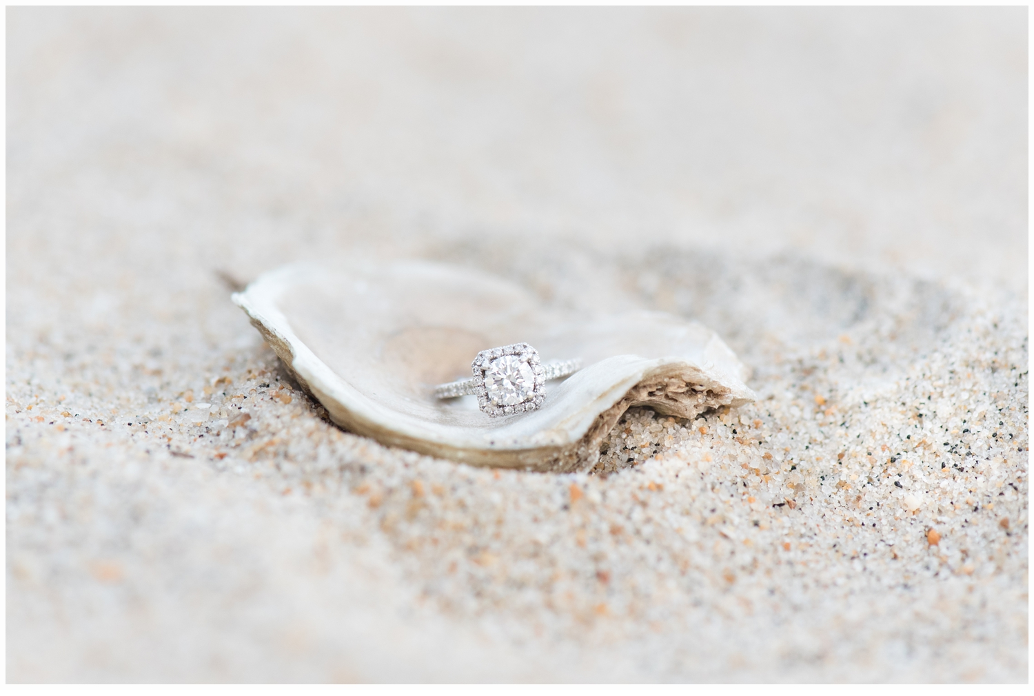 engagement ring in shell on beach