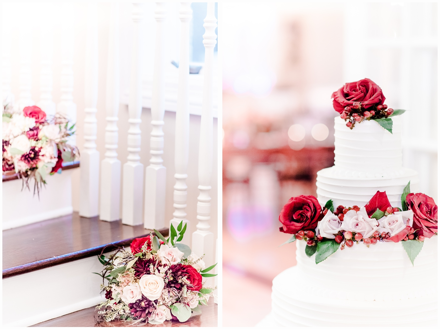 wedding cake and bouquets