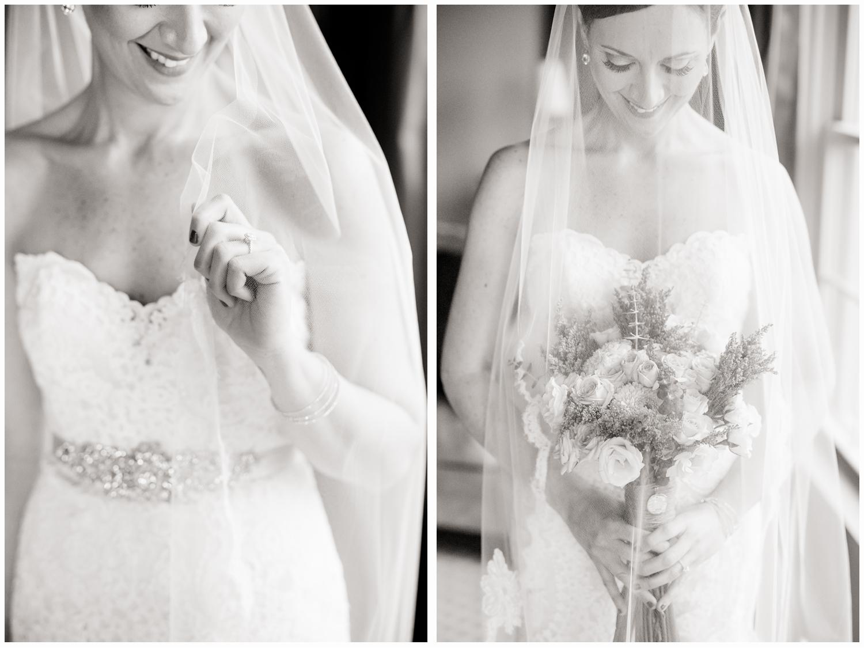 bride with bouquet in bridal suite