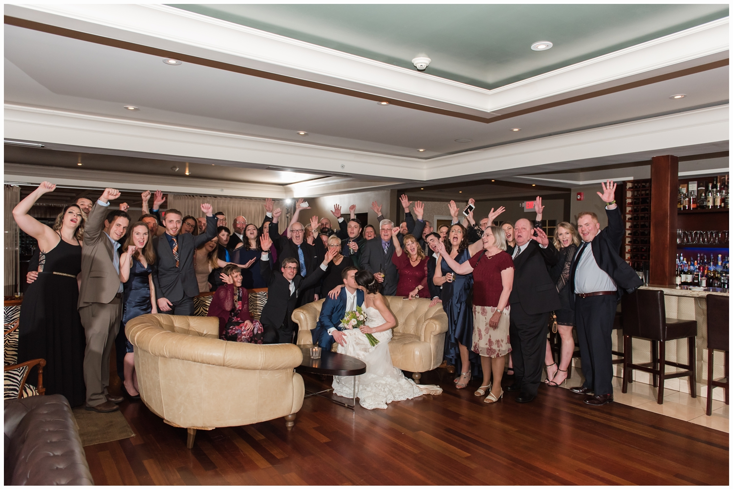 all wedding guests in one photo