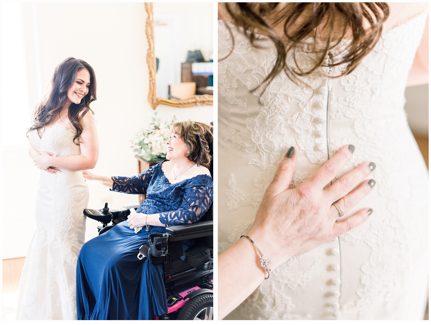 Bride with mother in suite