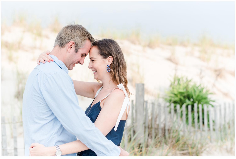 engagement session couple kissing