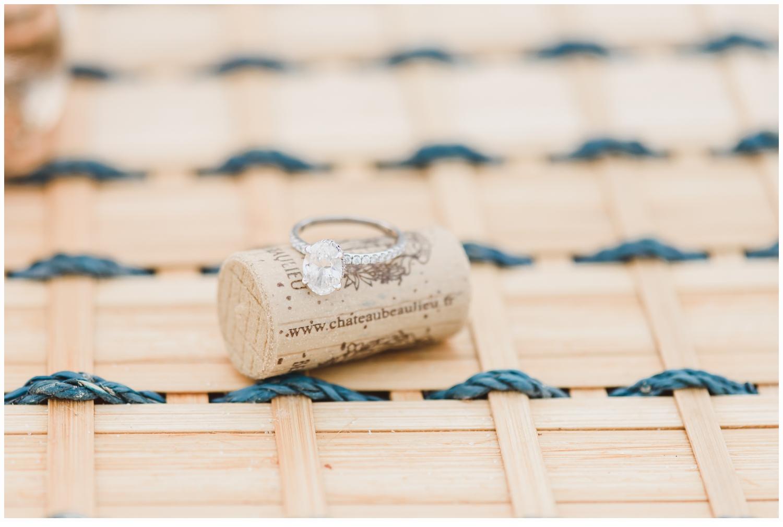 engagement ring on cork