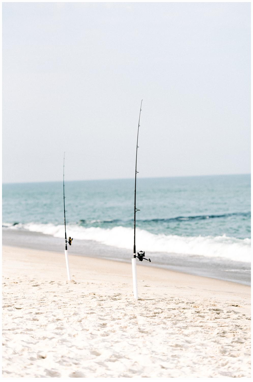 fishing poles on beach