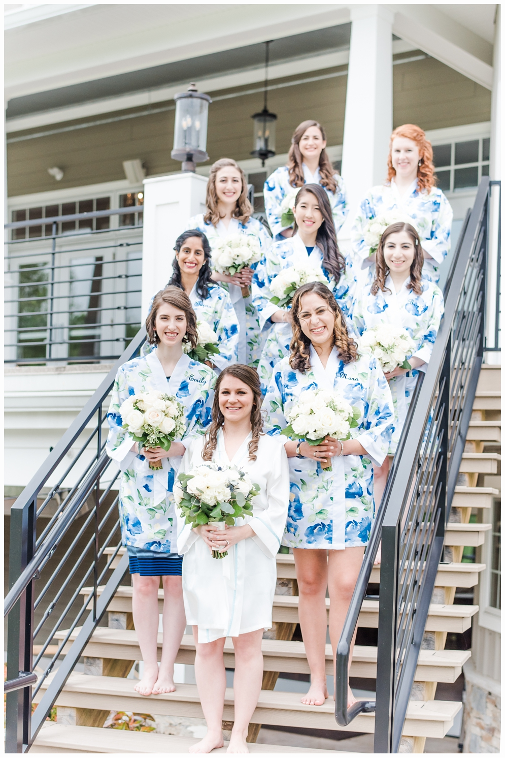 bridesmaids in pretty blue robes