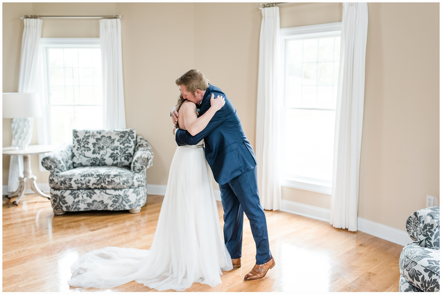 father and daughter first look on wedding day